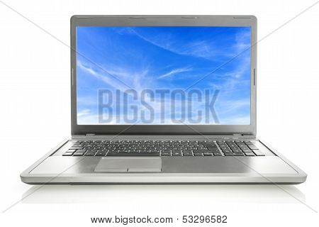Laptop With Sky Screensaver