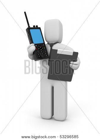 Businessman with portable radio transmitter