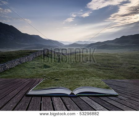 Creative Concept Pages Of Book View Along Misty Valley Towards Snowdonia Mountains