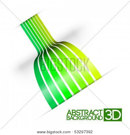 Abstract colorful 3d green stripes vector background