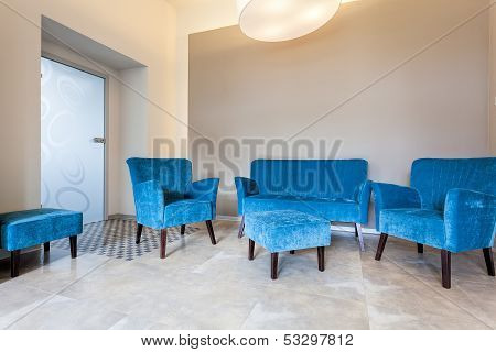 Blue Furniture, Sofa And Pouf