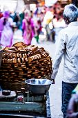 stock photo of hardtack  - Traditional indian food on the street in India - JPG
