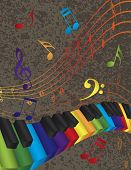 stock photo of rainbow piano  - Wavy Abstract Piano 3D Keyboard with Rainbow Colors Keys and Musical Notes Textured Background Illustration - JPG