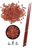 picture of semen  - Jujube seed used in traditional chinese herbal medicine with mandarin title script translation and chopsticks - JPG