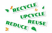 stock photo of waste reduction  - Environmental words green stickers isolated on white - JPG