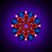image of rangoli  - rangoli with diwali diya elements over dark blue background - JPG