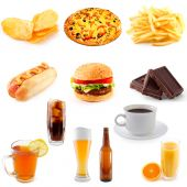foto of junk food  - set of fast food abundance - JPG