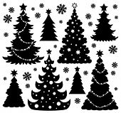 stock photo of christmas theme  - Christmas tree silhouette theme 1  - JPG