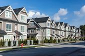 stock photo of row houses  - A row of a new townhouses in Richmond British Columbia - JPG