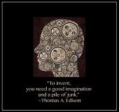 Human head in portrait filled with gears and a quote from Thomas Edison who said To invent, you need