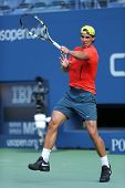 Twelve  times Grand Slam champion Rafael Nadal practices for US Open 2013 at Arthur Ashe Stadium