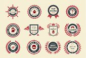 stock photo of trophy  - Achievement badges for games or applications - JPG