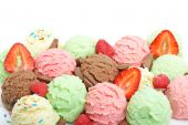 picture of ice cream sundaes  - Delicious ice cream balls and sliced strawberry - JPG