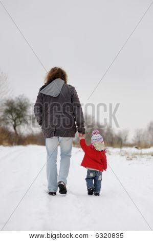Little Winter Baby Girl And Her Father