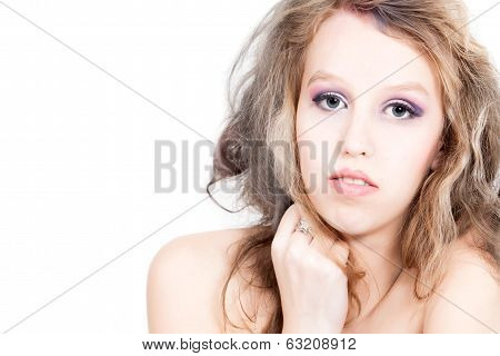 Beauty Girl On White