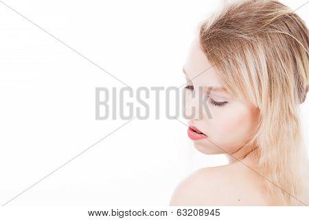 Serene Blond Teenager On White