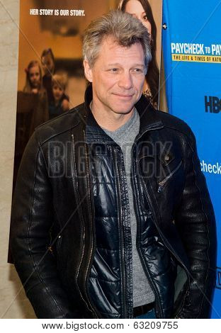 NEW YORK-MAR 13: Recording artist Jon Bon Jovi attends the 'Paycheck To Paycheck: The Life And Times Of Katrina Gilbert' premiere at HBO Theater on March 13, 2014 in New York City.