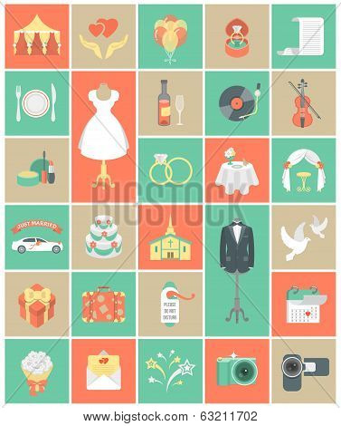 Wedding Icons Square Set