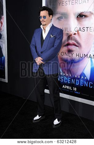 LOS ANGELES - APR 10:  Johnny Depp arrives to the 'Transcendence' Los Angeles Premiere  on April 10, 2014 in Westwood, CA