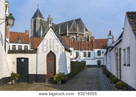Beguinage And The Notre Dame Church Nearby.