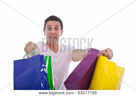 Fun Image Of An Excited Male Shopper