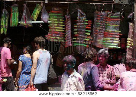 Indian hindus shopping to celebrate Holi festval