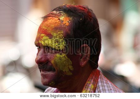 Portrait of Indian Hindu celebrating Holi festival