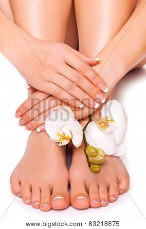 woman's manicured hand and pedicured feet with orchid flower