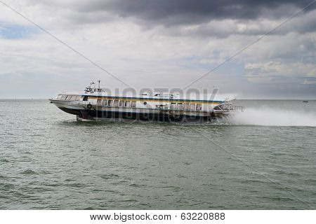 Hydrofoil Going On Saigon River During A Cloudy Day