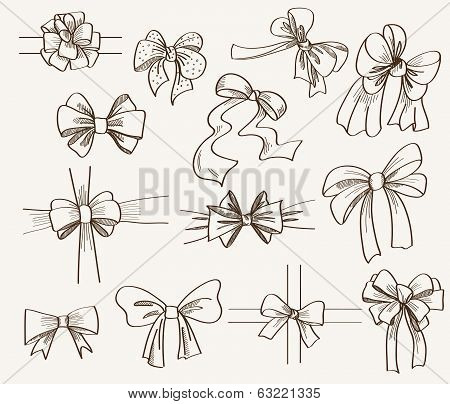 collection of bows used for gift boxes