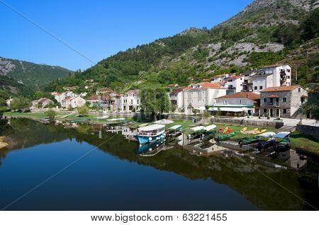 village of Rijeka Crnojevica along the namesake river is part of old royal capital Cetinje, Montenegro