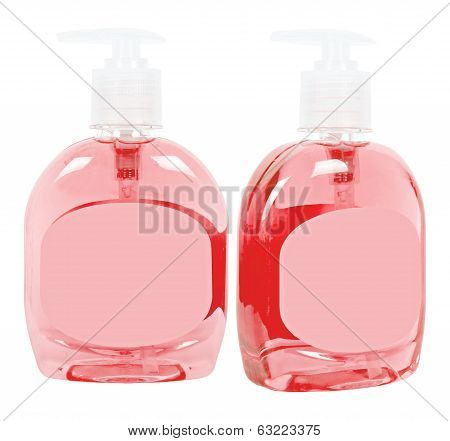 Red Bottles With Liquid Soap