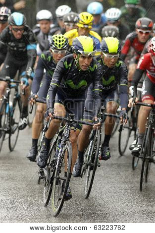 BARCELONA - 30, MARCH: Jose Herrada of  Movistar Team rides during the Tour of Catalonia cycling race through the streets of Monjuich mountain in Barcelona on March 30, 2014