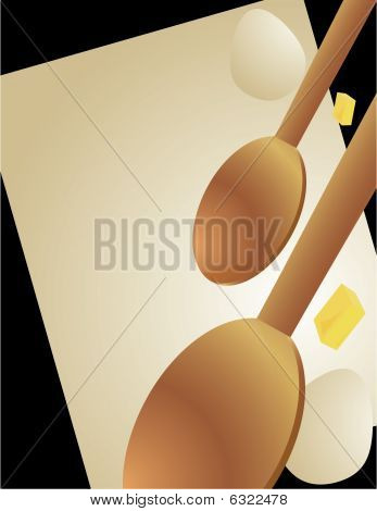 Wooden Spoons And Cooking Ingredients Background
