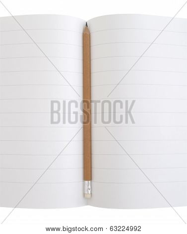 yellow pencil on notebook disclosed on an isolated white background