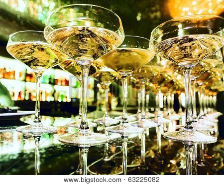 Glasses Of Champagne On Bar
