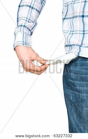 Hand and empty pocket, isolated on white background