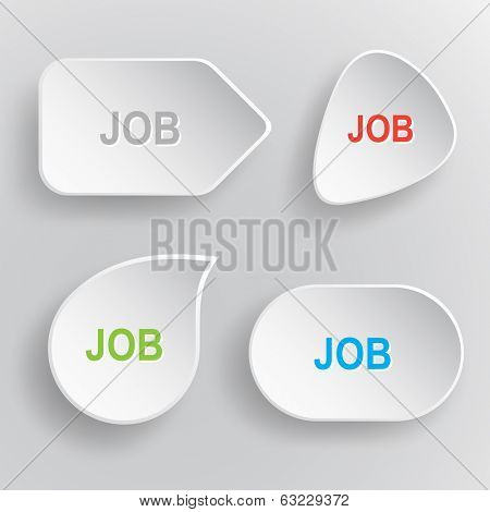 Job. White flat vector buttons on gray background.