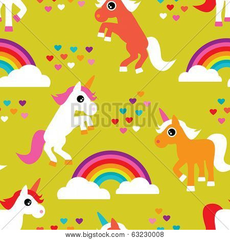 Seamless colorful unicorn rainbow kids background horse pattern in vector