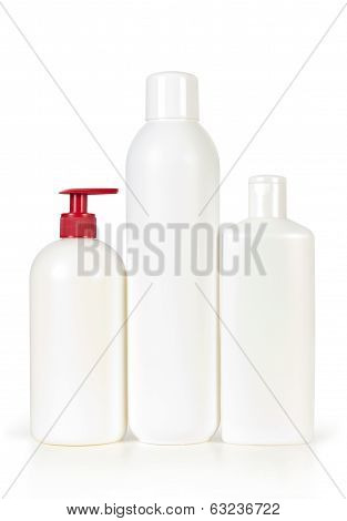 blank bottles of shampoo and hair protector products