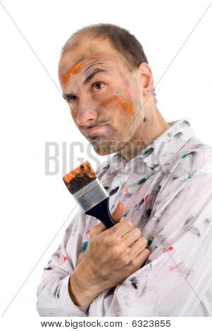 Careless Young Man Covered In Paint