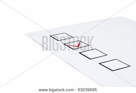 questionnaire on white isolated white background