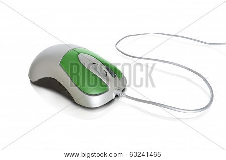 Contemporary green with silver mouse isolated on white background