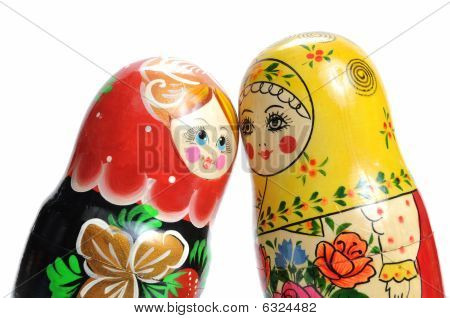 Matreshka Doll Isolated On White Matreshkas