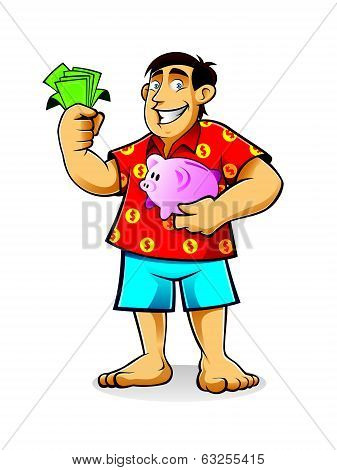 Fat Man with Piggy Bank