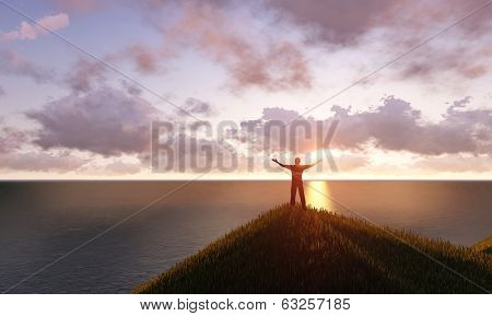man standing on a mountain top
