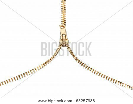 zipper isolated on white
