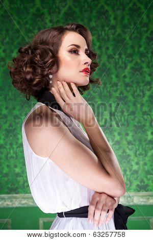 Sensual Woman In Retro Room Professional Make Up