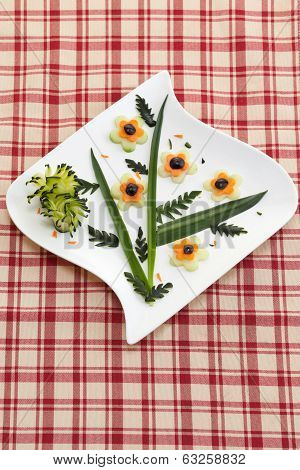 Appetizer plate with raw vegetables