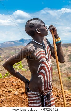 Omo Valley People - Mursi Painted Man